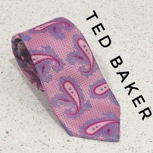 Ted Baker London Pink Paisley Skinny Silk Tie GUC
